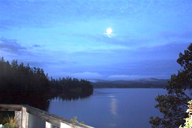 night time view of Sooke basin from cottage beside the Galloping Goose Trail